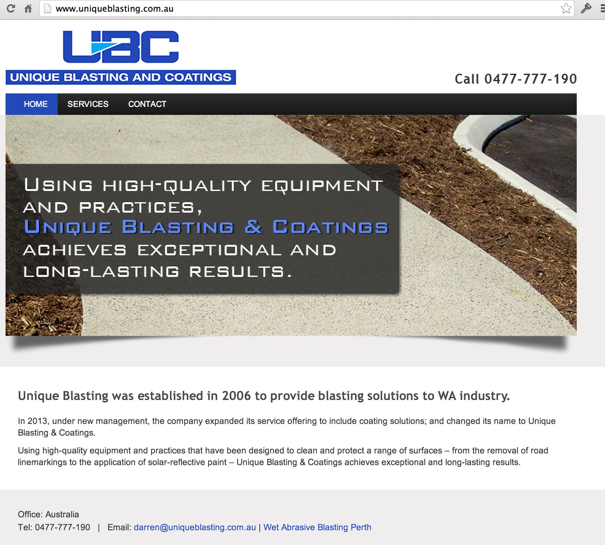 New Small Business website for Unique Blasting & Coatings in Perth
