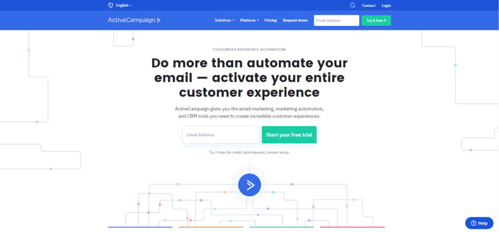 ActiveCampaign's landing page