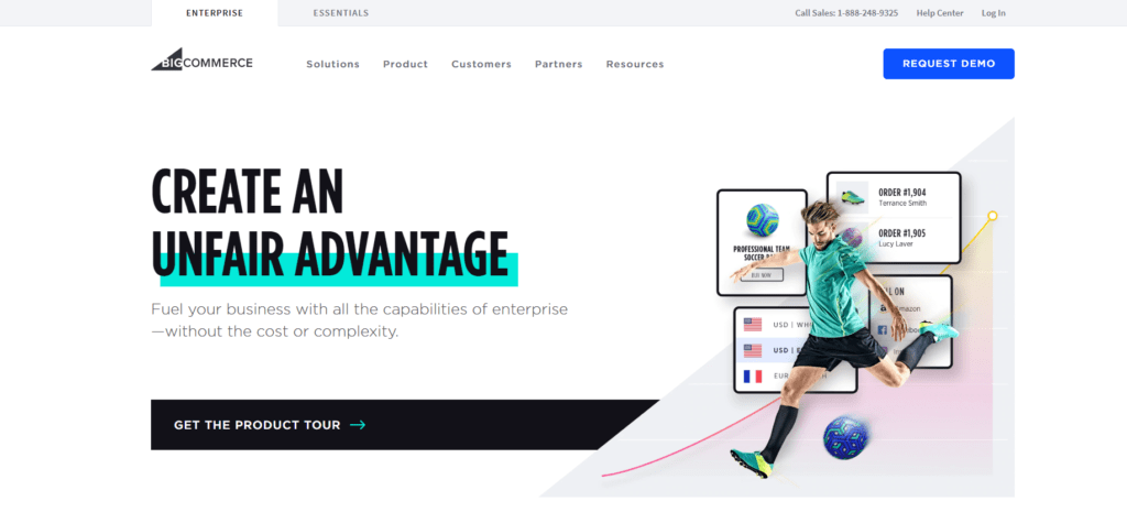 BigCommerce's landing page