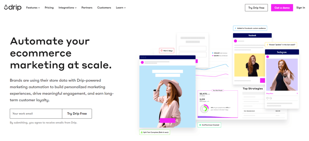 Drip's landing page