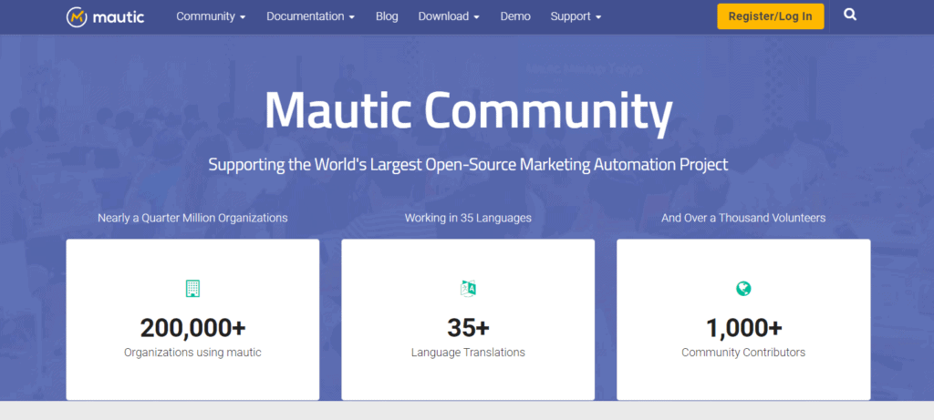 Mautic's landing page