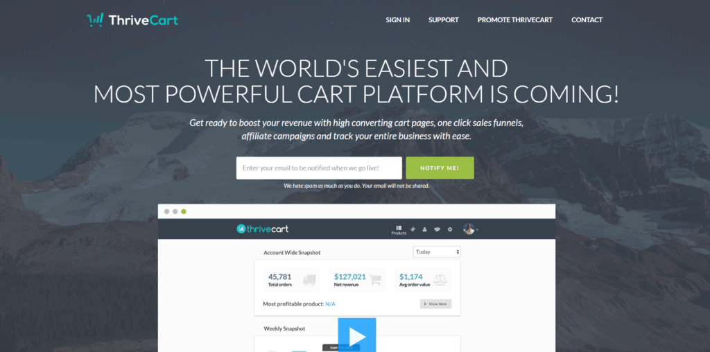 ThriveCart's landing page
