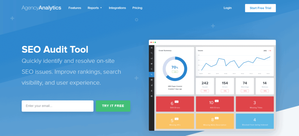 Agency Analytics' landing page