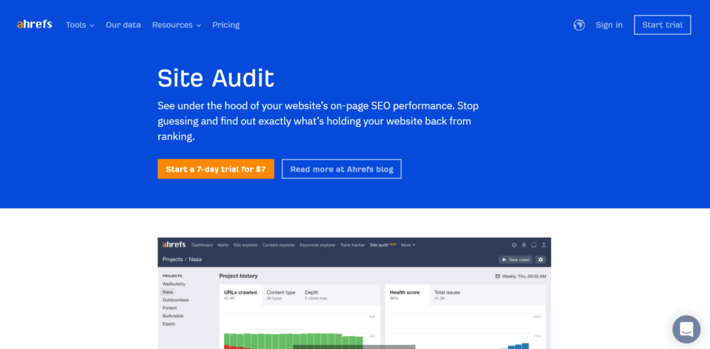 Ahrefs' landing page
