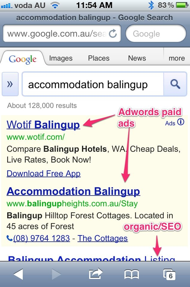AdWords results on a mobile device