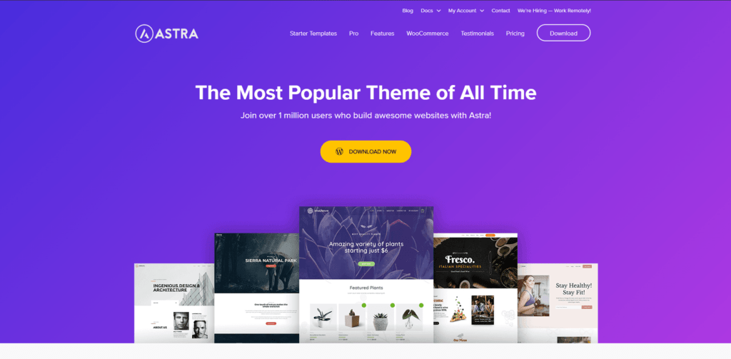 Astra's landing page