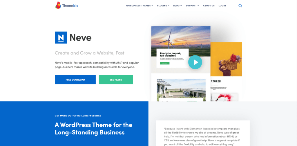 neve's landing page