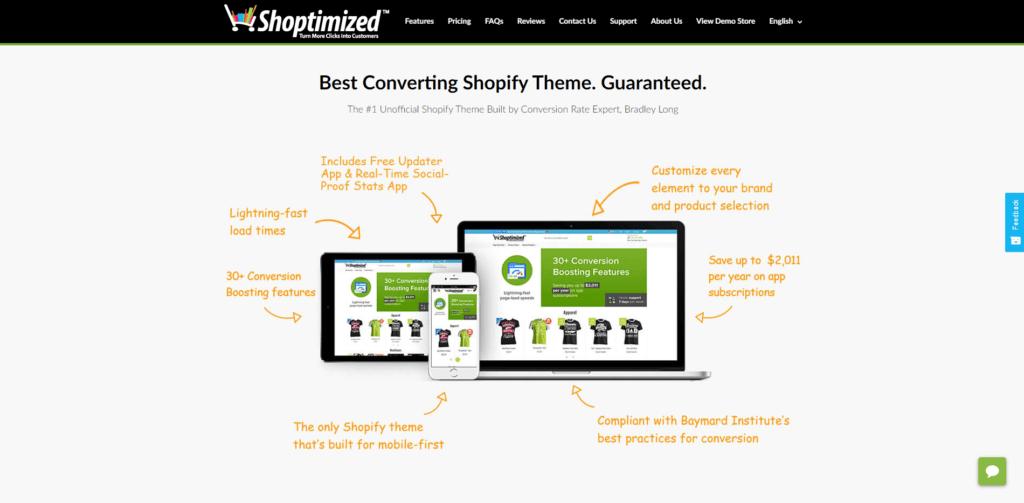 Shoptimizer's landing page