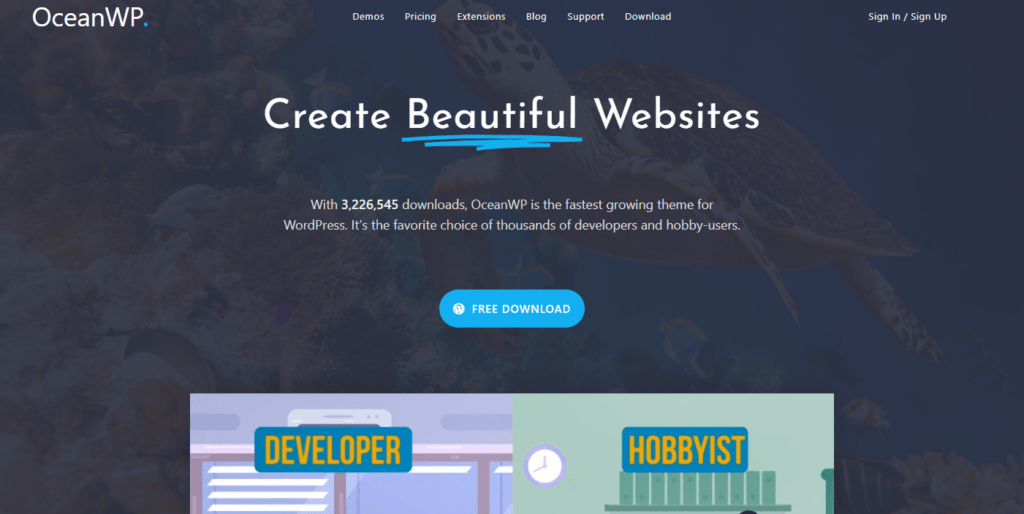 oceanwp's landing page