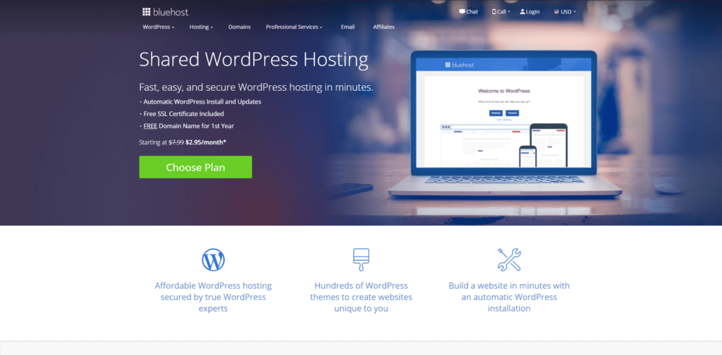 Bluehost's landing page