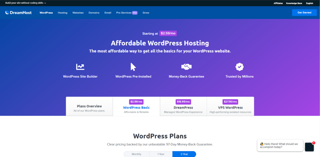 Dreamhost's landing page