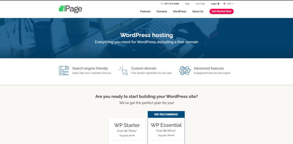 Ipage's landing page