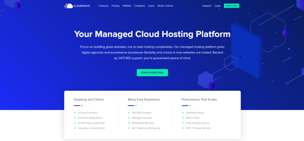 Cloudway's landing page