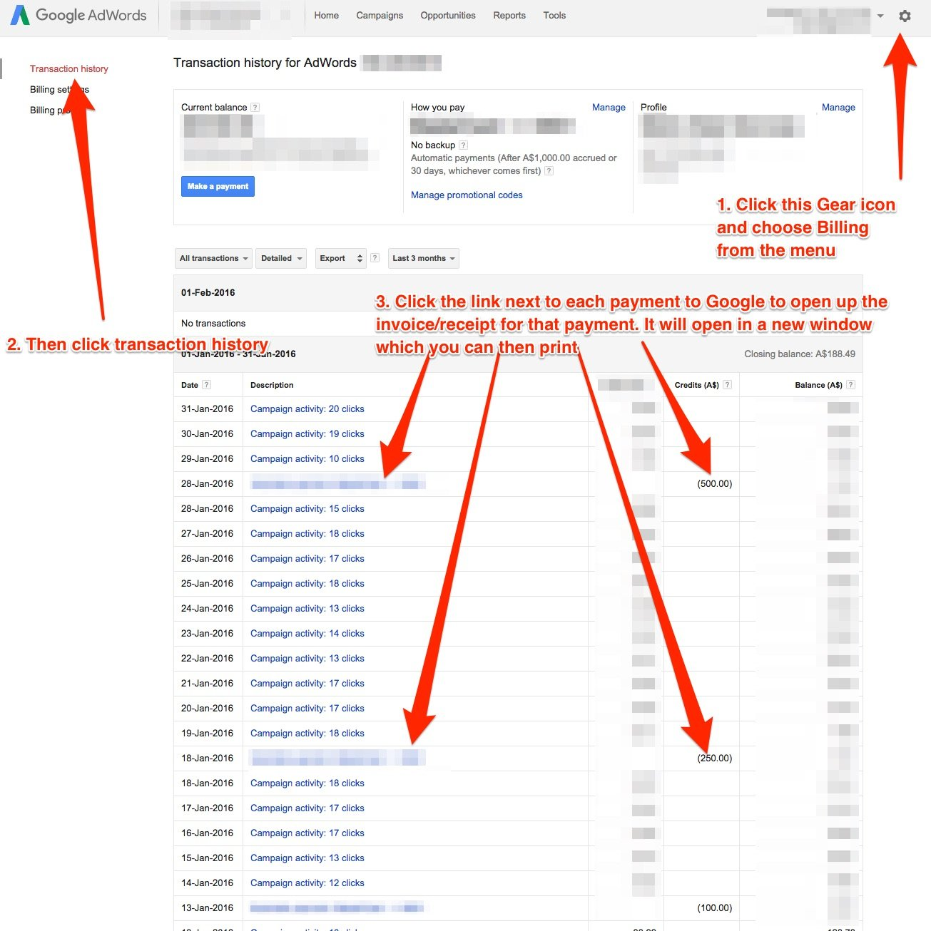 How to download & access your Google Adwords invoices