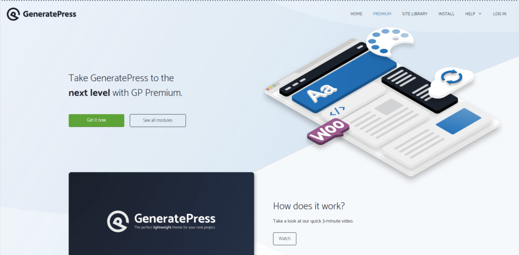 GeneratePress' landing page