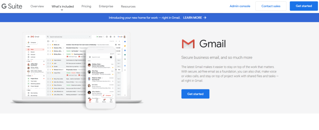Gmail's landing page