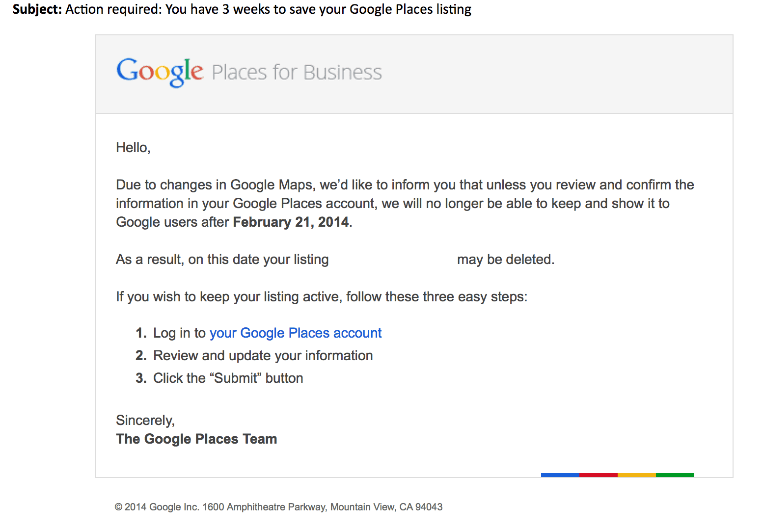 Google email about Google Places