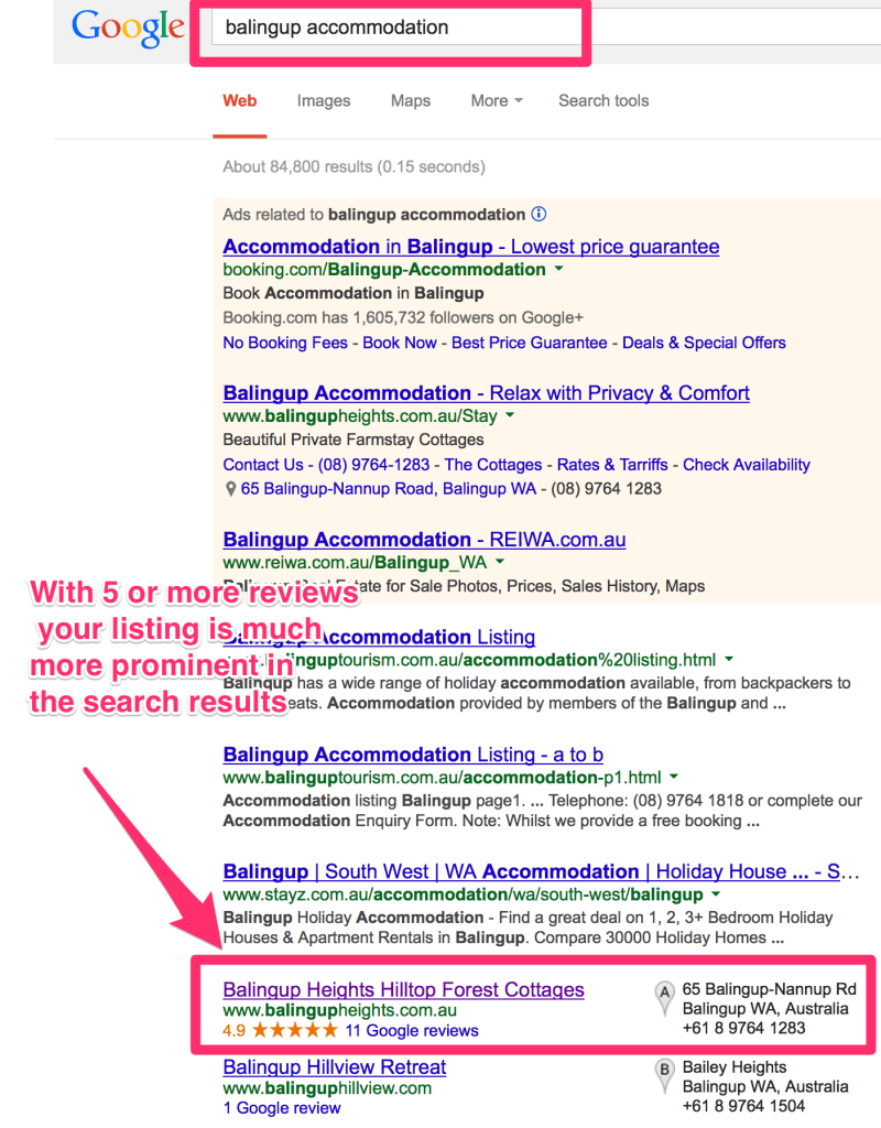 Google Places & Plus reviews are good for SEO