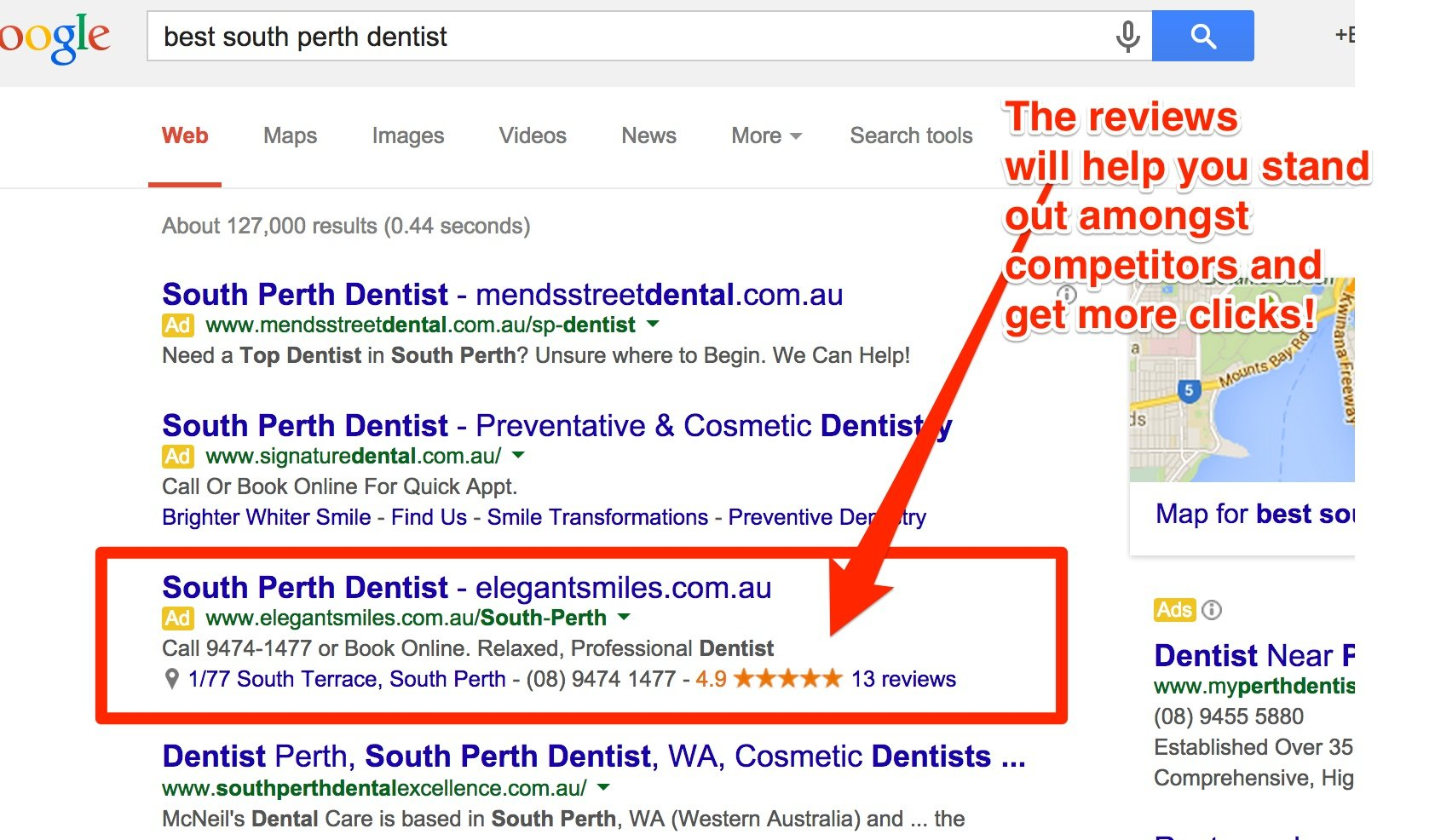 Google Plus Reviews now show in the Adwords search results