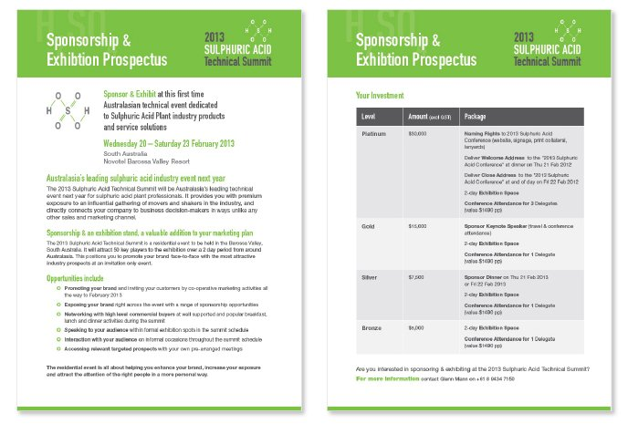 Professionally designed event prospectus