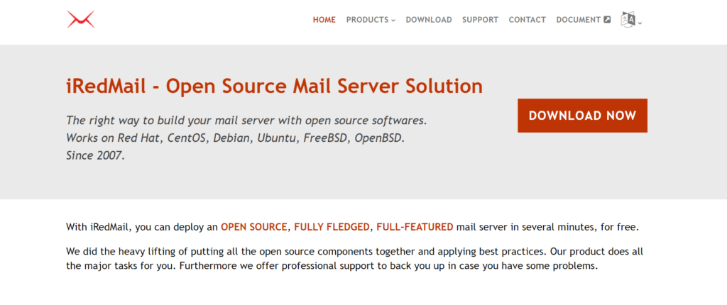IRedMail's landing page
