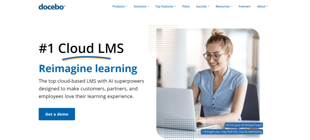 Learning management system Docebo's landing page