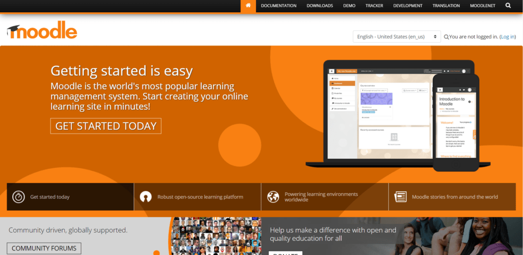 Learning management system Moodle's landing page