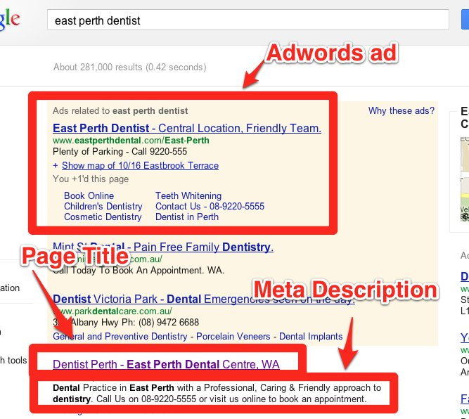 Page title and meta description example