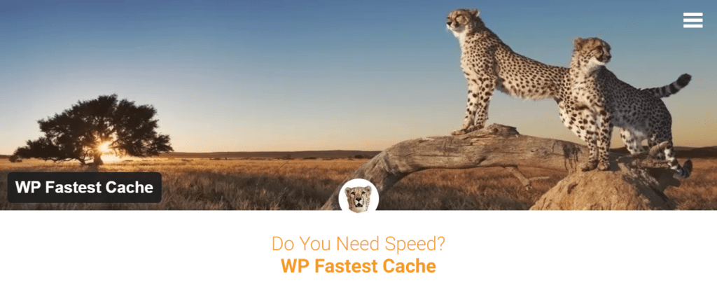 WP Fastest Cache's landing page