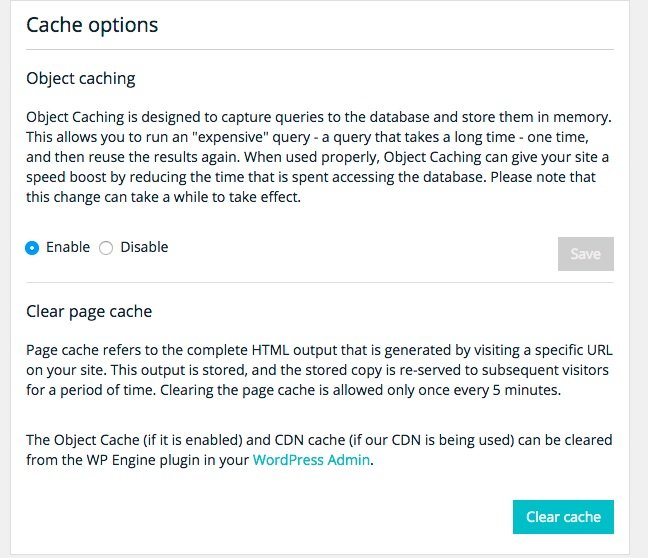 WP Engine Caching Settings in the Hosting Admin Console